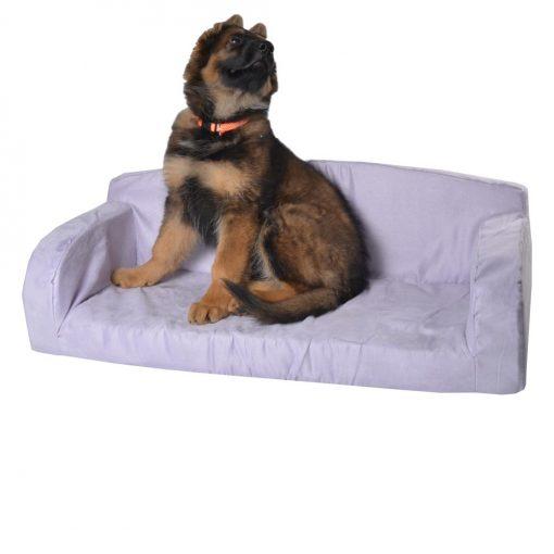 Suede dog bed pink storm